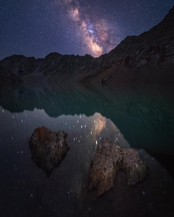 Milkyway reflecting in the crystal clear Ala-Kul lake at m altitude no bullshit composite Kyrgyzstan x