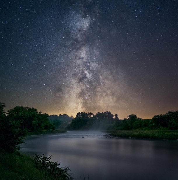 Misty night over the Saugeen River Near Port Elgin Ontario Canada