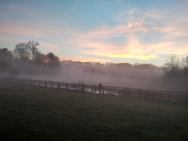 Misty sunset in Rural England
