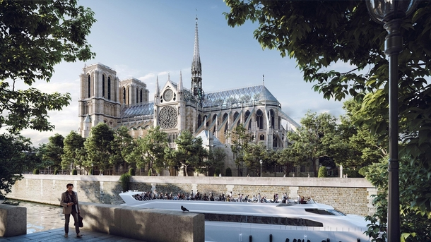 Miysis Studios Notre-Dame reconstruction concept with glass roof and replica spire