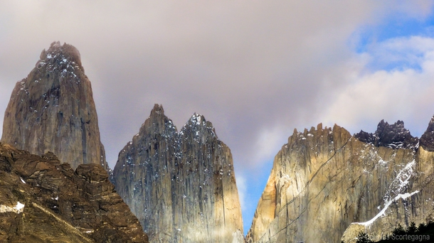 Monoliths pointing to the sky Torres del Paine Chile