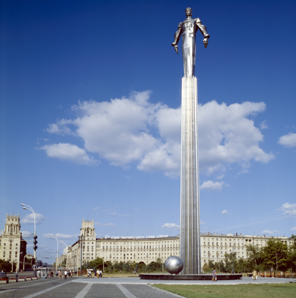 Monument in honor of Yuri Gagarin the first man in space when his Vostok spacecraft completed an orbit of the Earth on  April  This monument made entirely of titanium is located in Moscow