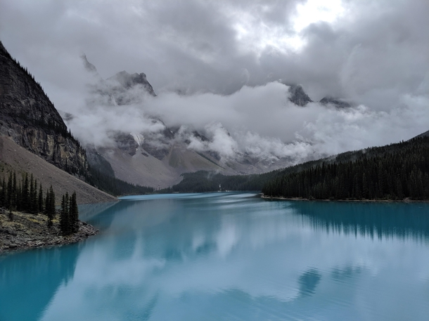 Moraine Lake with Clouds Sliver of heaven on Earth Banff National Park Canada