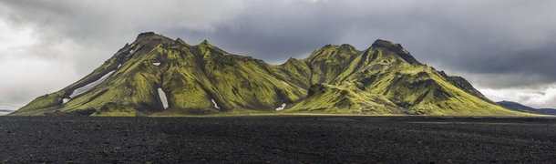 Moss covered mountains in the southwest of Iceland