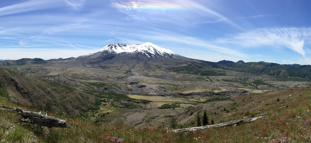 Mount St Helens  Complete with spring flowers fallen trees from the  eruption and a rainbow over head from the snow glare Arguably my best photo