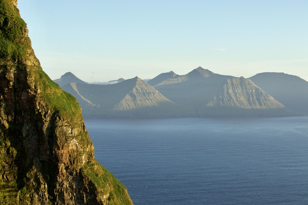 Mountains of Eysturoy viewed from the Kallur Lighthouse at Kalsoy - Faroe Islands