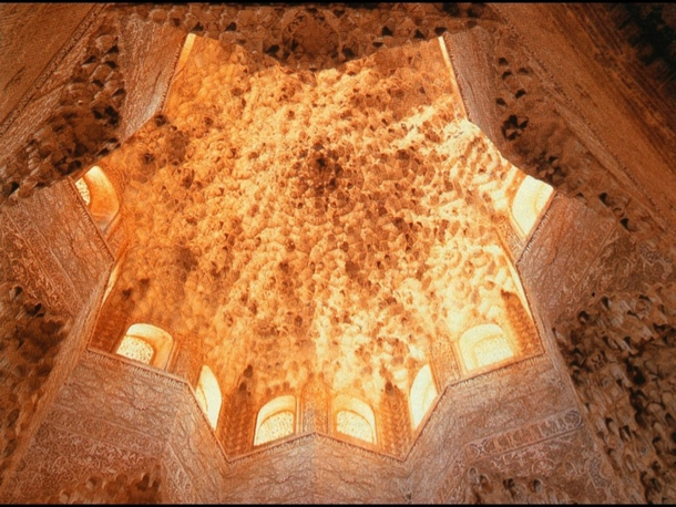 My Arch History Professors favorite work The Palace of the Lions at Alhambra Honey Comb Dome made of mocarabes in its interior closely resembling an organic form relating itself to nature When sun is filtered through the arches the dome looks distant simi