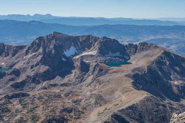 My favorite lake as seen from the summit of a ft peak in Colorado