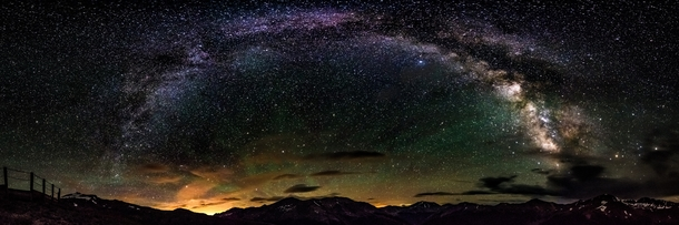 My first full Milky Way arch panorama Captured at Independence Pass in Colorado ft