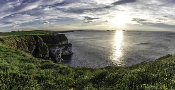 My first sunset in Ireland Over Magheracross Viewpoint in County Antrim Northern Ireland UK