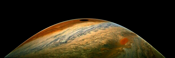 NASAs Juno spacecraft has just imaged the shadow of the moon Io on Jupiters surface