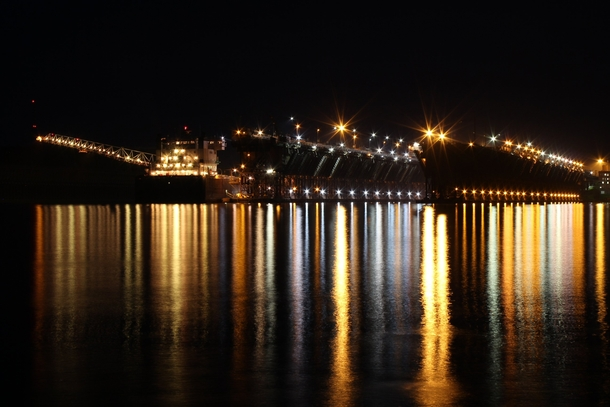 Night Shot of the Two Harbors MN iron ore docks with the ore carrier Edwin H Gott being loaded