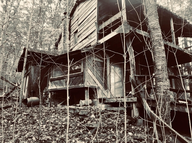 OC Another abandoned property near our house This one has a rather odd backstory In the s a family would stay in the cabin for the summer then one night they all disappeared leaving all of their belongings behind We found numerous blood stained sheets mat