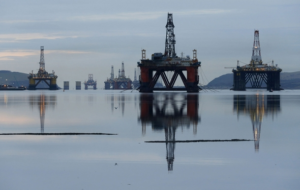 Oil drilling rigs are parked up in the Cromarty Firth near Invergordon Scotland Falling prices have reduced demand for drilling work in the North Sea and has led to the laying up of the rigs Reuters