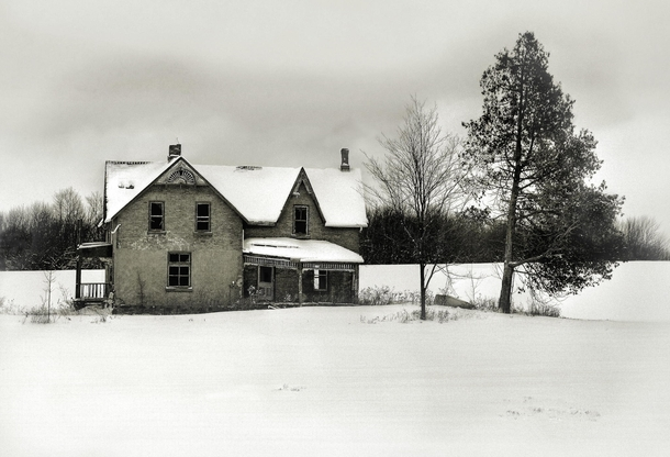 Old house in winter  location unknown