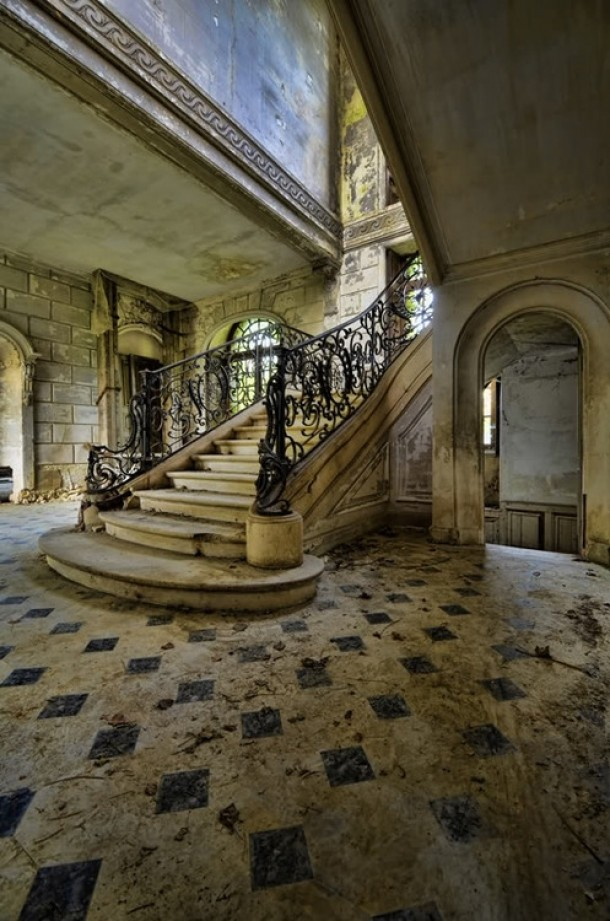 Old Staircase In An Abandoned House In France Photorator