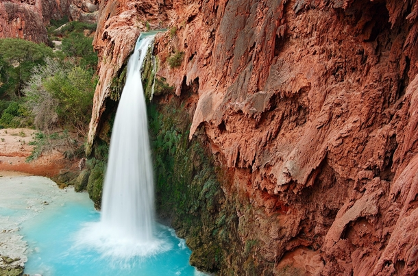 One of Havasu Falls close to the Indian settlement Supai Arizona  Photo by Andrey Vedernikov