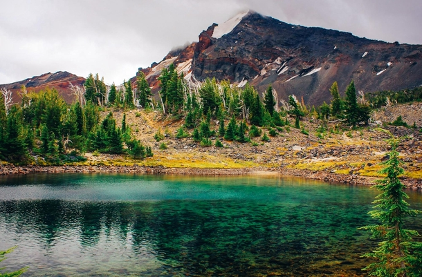 One of the beautiful pristine glacial tarns lying at the base of Broken Top Central Oregon