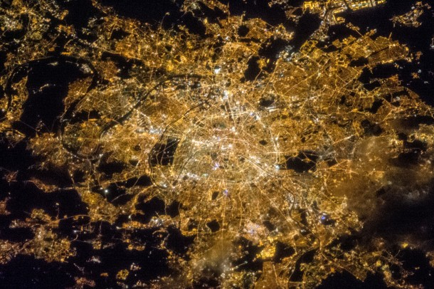 One of the crew members aboard the ISS photographed this image of the city of Paris France on April