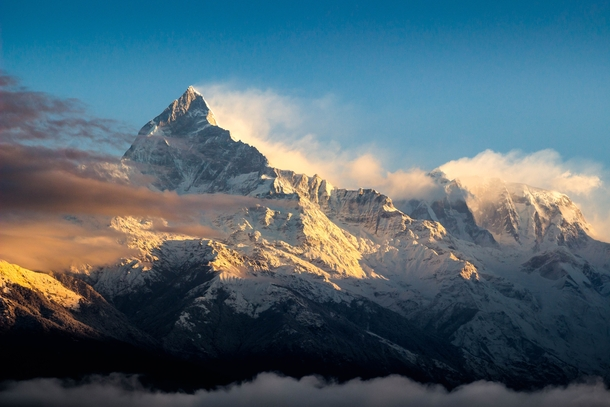 One of the most breathtaking sights I have even seen Machapuchare Fish Tail Mountain at Sunrise Annapurna Range Nepal