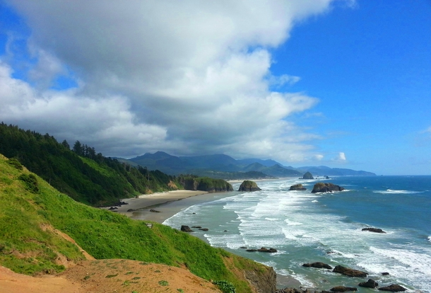Oregon Coast looking down on Cannon Beach