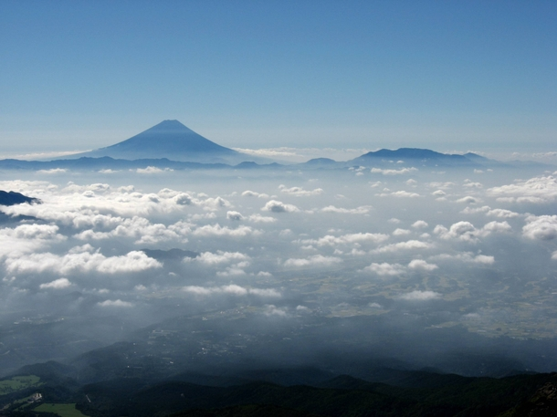Outlook From Mt Yatsugatake Japan With Fuji In The