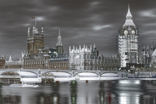 Palace of Westminster during reconstruction photo by Axel Ahlsn