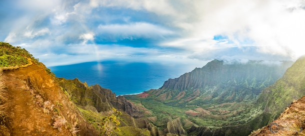 Pano I took of Kalalau Valley while hiking out on Kalepa Ridge Trail at Sunrise - Kauai Hawaii