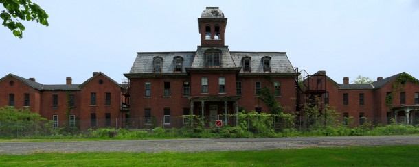 Panorama of the long-abandoned Maples Building at the New ...