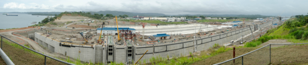 Panorama of the Panama Canal expansion project
