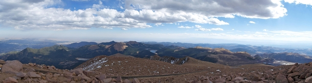 Panoramic from the summit of Pikes Peak CO