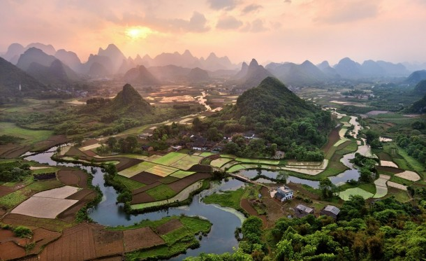 peaceful riverside village in southern china  photorator