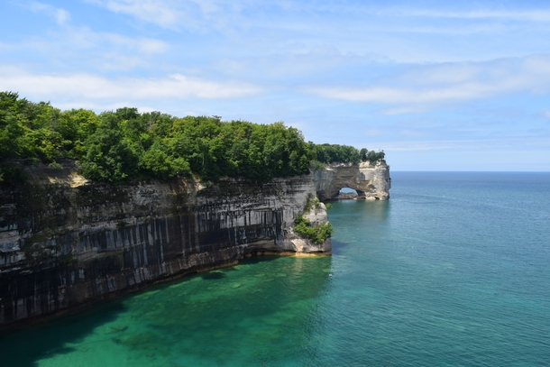 Pictured Rocks Michigan view of grand portal point from the backcountry trail
