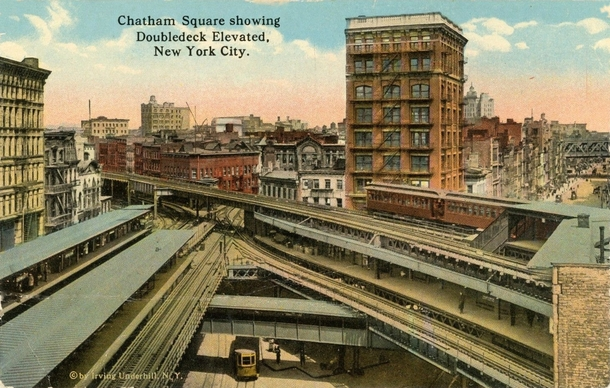 Postcard Depicting Old New York back when it had Stacked El Rail AND Streetcars