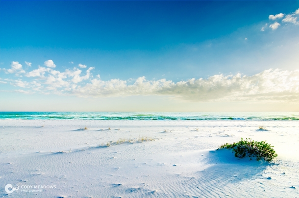 Pure white sand on Pensacola Beach FL