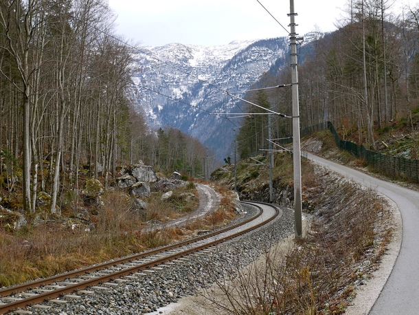 Railroad tracks near Hallsttter See in Austria