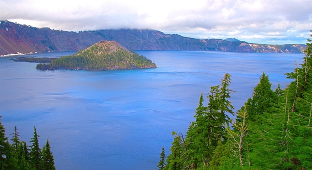 Rain stopped just long enough to see the island within Crater Lake Oregon