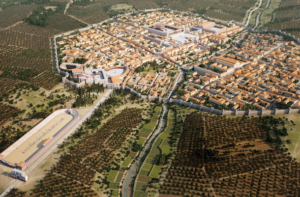 Reconstruction of Roman city of Gerasa modern day Jerash Jordan