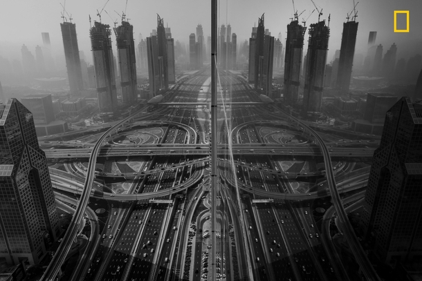 Reflection of a Dubai intersection