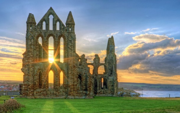 Ruins of Whitby Abbey Monastery North Yorkshire England