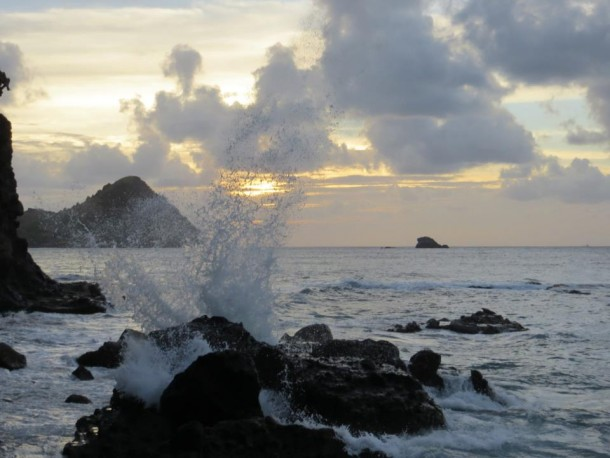 Saint Lucia Waves at Sunset