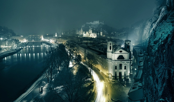Salzburg Austria in a winter night  x-post from raustria