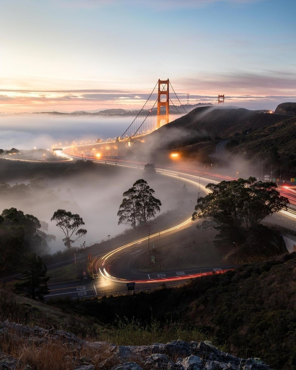 San Francisco Bay Area on Instagram A couple years back a few friends and I captured these beautiful conditions at the Golden Gate Bridge Its rare to see the fog make it up onto the freeway and it was such a perfect light covering that we might never capt