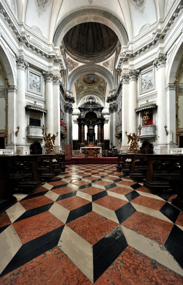 Santa Maria del Rosario church in Venice with D effect floor tiles