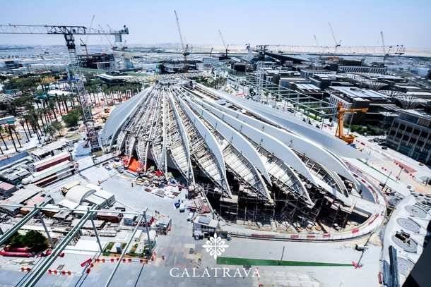 Santiago Calatrava new iconic building Construction is still underway at the UAE Pavilion designed in the shape of a flying falcon