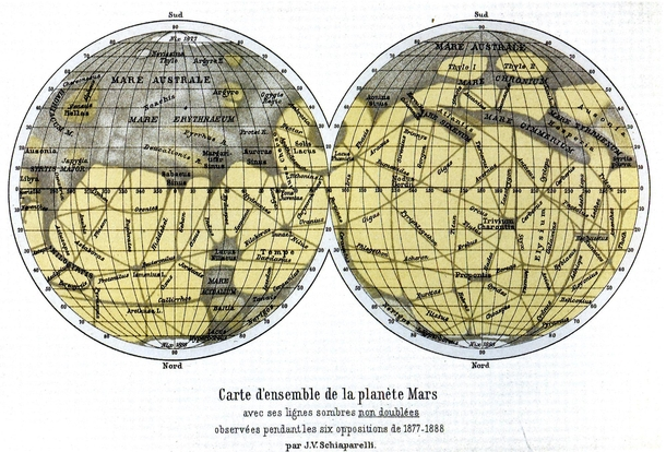 Schiaparellis map of Mars made between  and  Those linear features were named canali mistranslated into English as canals The canali were later revealed to be optical illusions the summation of many smaller details