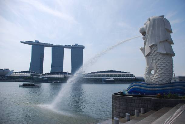 Singapore the Merlion in front of the Marina Bay Sands  OC