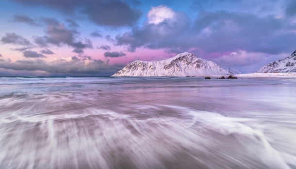 Sky Blue Pink Flakstad Nordland Norway By Jerry Fryer