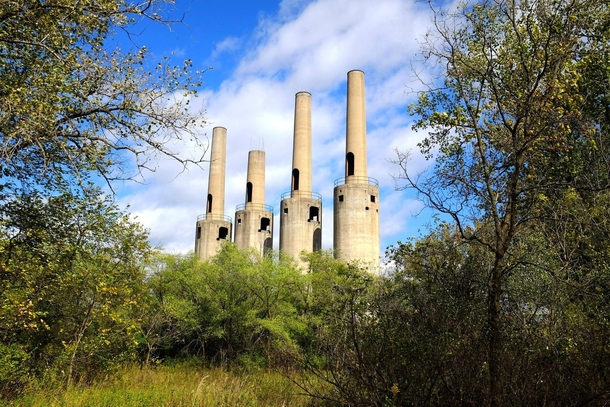 Smokestacks from abandoned World War  munitions factory in Rosemount MN  x