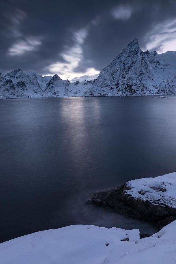 snowy twilight mountains of lofoten norway